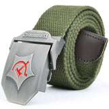 2018 New Men Automatic buckle Belt Thicken Canvas belts Communist Military Belt Army Tactical Belts High Quality Strap 110 140CM