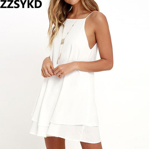 ZZSYKD 2018 Summer Sexy Mini Backless Sling White Beach Dress For Women Maxi