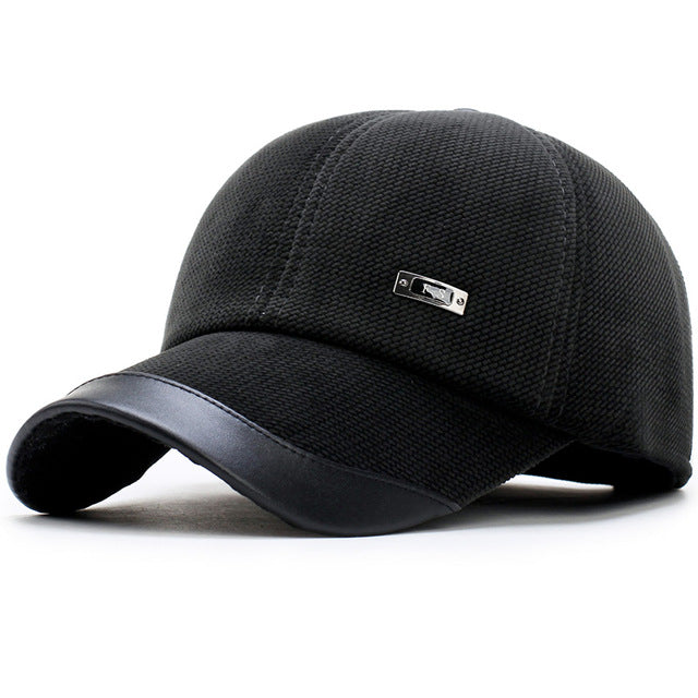 e454062f230 ... Winter Baseball Cap Men Keep Warm Dad Hat Thicken with Ear Flaps Bone  Men s Snapback Caps ...