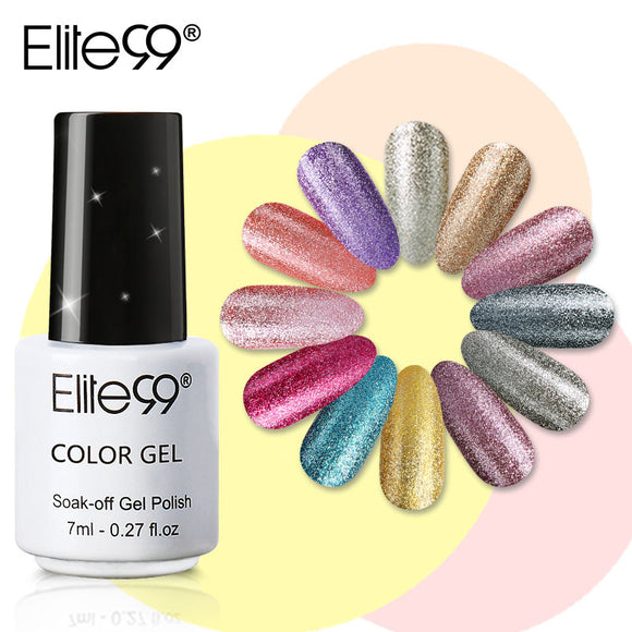 Elite99 7ml Platinum Color Nail Gel Varnish Semi Permanent Nail Art Glitter Pearl Gelpolish
