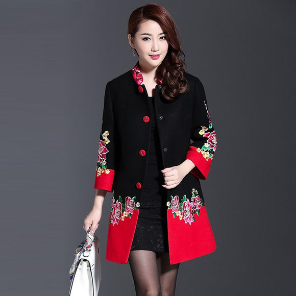 Plus Size 4XL Cashmere Flower Embroidery Women Winter Long Coats 2018 Black Red Patchwork Single Breasted Eleagnt Overcoat