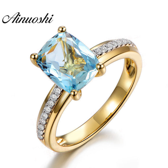 2.5Carat Cushion Cut Topaz Yellow Gold Color Ring 925 Sterling Silver Natural Blue Topaz Ring Engagement Ring for Woman