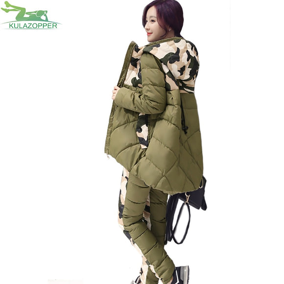 winter parka new fashion thick hooded cotton padded jacket loose warm outwear suit two sets for female Q586