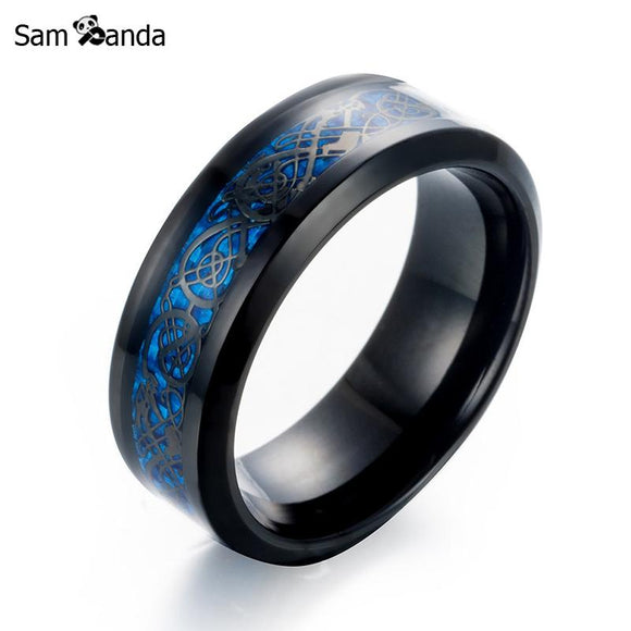 12 Colour New Arrival Titanium Steel Ring High-quality Black Color Gold Carbon Fiber Dragon Rotate Male Rings Mens Jewelry