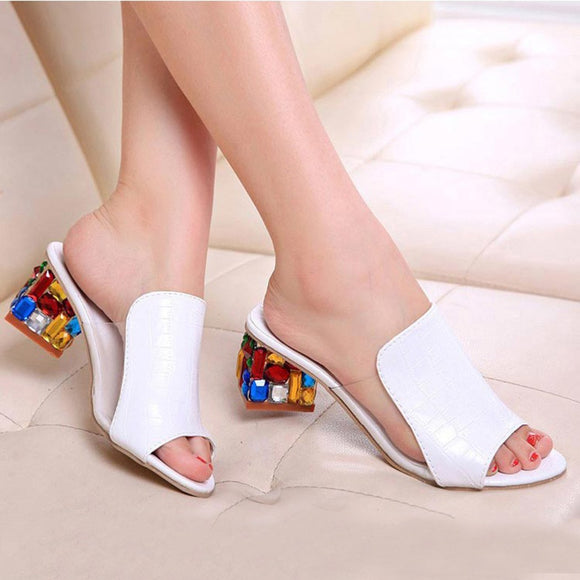 2018 brand large sizes 34-41 Colorful Rhinestone crystals Heels peep Toe Summer women's Shoes Woman Sandals slippers