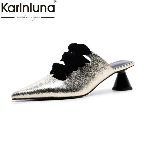 2018 genuine leather New Big Size 34-40 mid Heels Women Shoes Sweet bowtie pointed Toe mules Woman Party pumps
