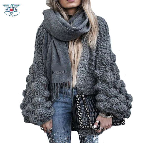 2018 Autumn&Winter Knitted Crochet Sweater for Women Chunky Oversize Cardigan Coat Open Female Sweaters Cardigan Women Knitwear