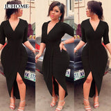 2018 Fashion Autumn Sexy Long Dress Women Half Sleeve V-Neck High Elastic Tunic Dresses Evening Party Elegant Bodycon Vestidos