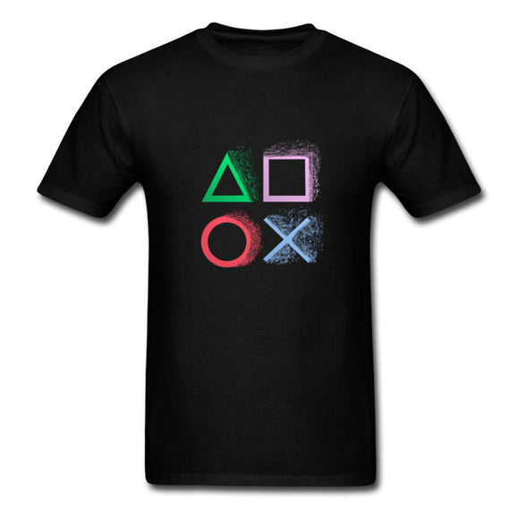 New 2018 Video Game Playstation Print Men T-shirt Fashion Summer Funny Button Printed T Shirts Short Sleeve Hipster Anime Tee