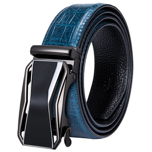 Leather Belt For Men 100% Real Cowskin Men's Belt Blue Strap Top Quality Automatic Buckle Male Belt For Business DK-2037