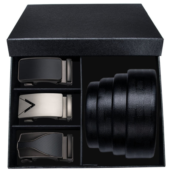 2018 New Arrival Mens Belt Ratchet Dress Male Belt With 3PCS Automatic Buckle Mens Belts 3 Colors Strap For Men With Gift Box