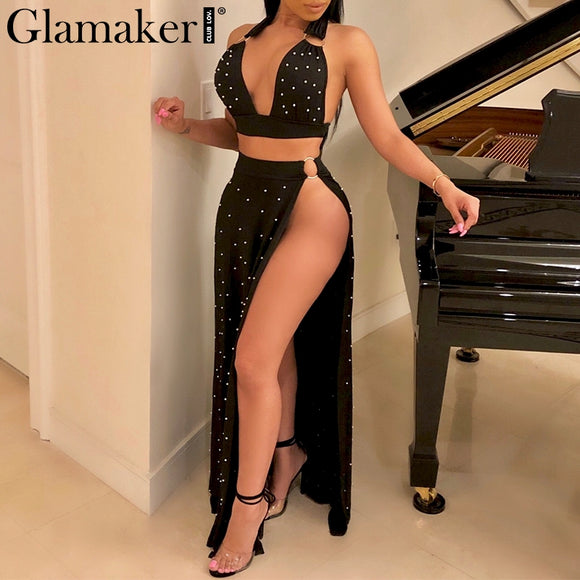 Pearl split backless sexy maxi dress Women two-piece suit deep v winter dress Elegant  crop party dress vestidos 2018