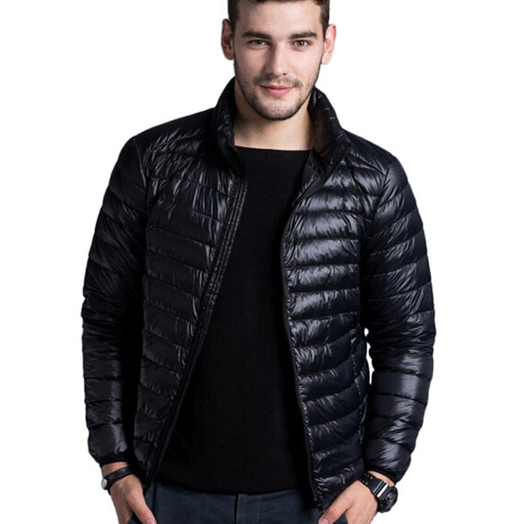 Men casual warm Jackets solid thin breathable Winter Jacket Mens outwear Coat Lightweight