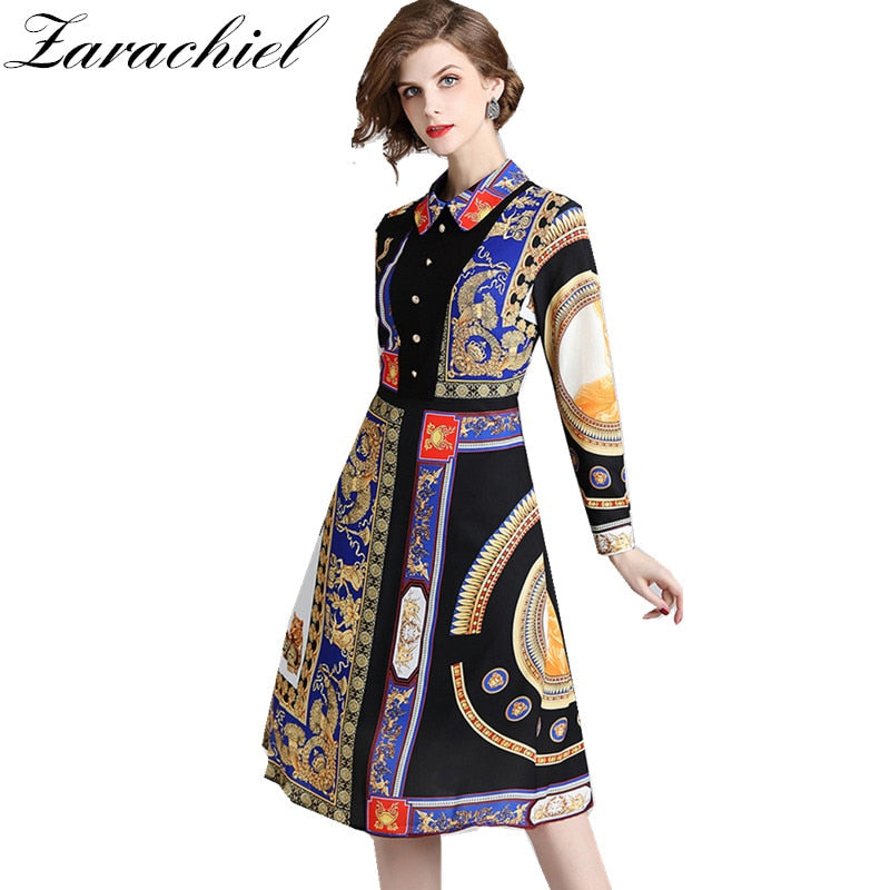 395bf18ce87ec Runway Designer Vintage Print Long Shirt Dress 2018 Autumn Women Long  Sleeve Single Breasted POLO Collar Slim Party Midi Dress