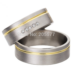 cheap western mens and womens cz diamonds pure titanium his and hers ...