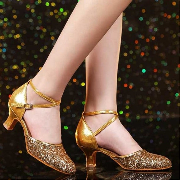 New style women's closed toe anti-shedding multi-layer solid wafer soft rubber sole Modern/ Ballroom/Latin dance shoes