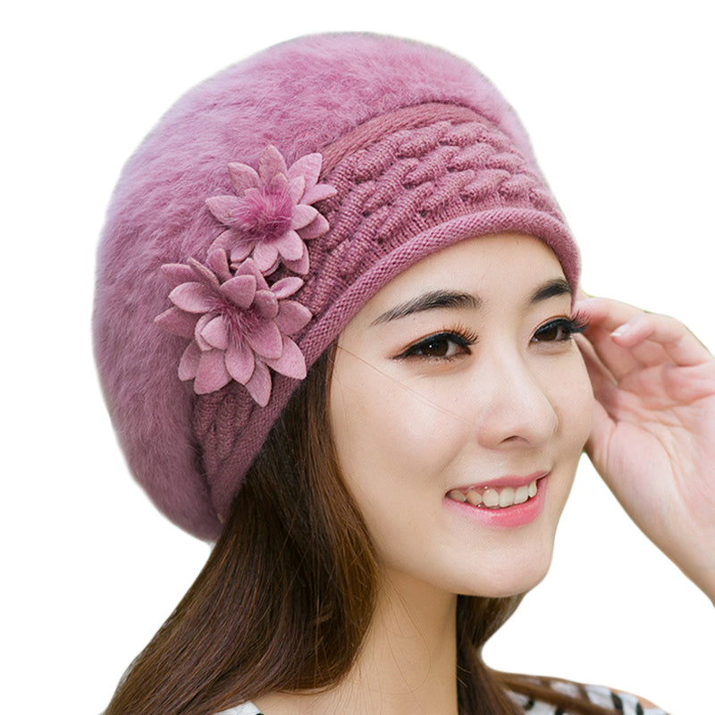 423e5830676858 Warm Winter Hats for Women 2018 Wool Knitted Beret Beanies Female Caps Faux Rabbit  Fur Braided ...