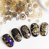1Box Fashion DIY Metallic Nail Sequins Gold Color Hollow Mechanical Component Gear Wheel Nail Art Flakes Manicure Decors Tips