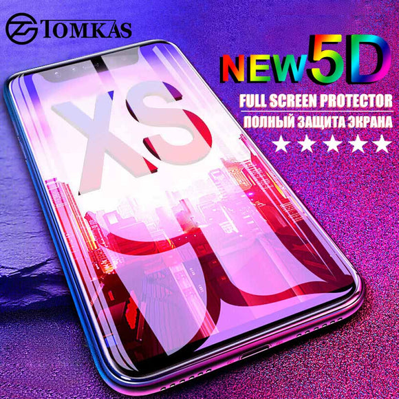 TOMKAS 5D Glass For iPhone X XS Max Screen Protector Tempered Glass Film For Apple iPhone XS XR XS Max 10 Protective Glass Film