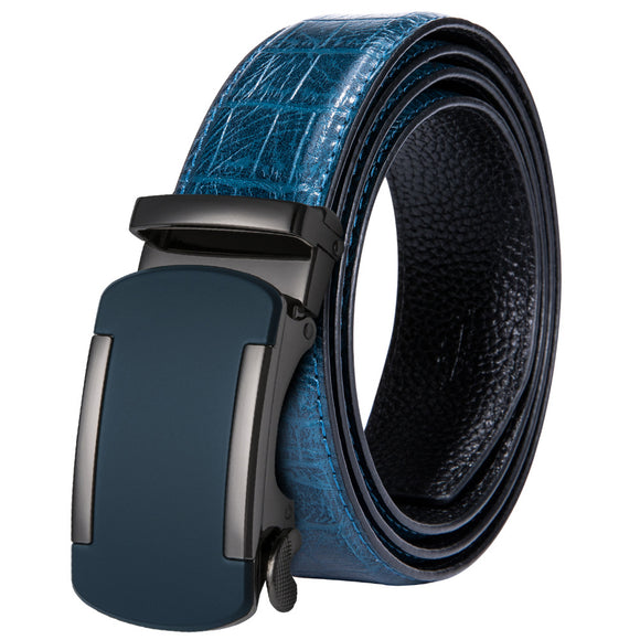2018 New Arrival Men's Belt 100% Real Cowskin Leather Belt Blue Strap High Quality Automatic Buckle Male Belt For Business