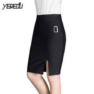 Black pencil skirts women Fashion Formal skirt Slim fit Elegant Side split midi skirt Spring