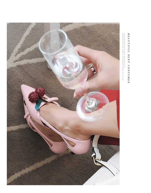 ... Pointed Toe Cherry Decoration High Heels Hollow Out Strange Style Heel  Women Shoes Sandals Red Heart 5c0503a5f4c9