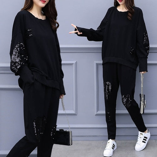 Plus Size 5xl 2 Piece Set Women Leisure Tracksuit Year-old Female Costume Trousers Suit Set Women's Costumes Conjunto Feminino