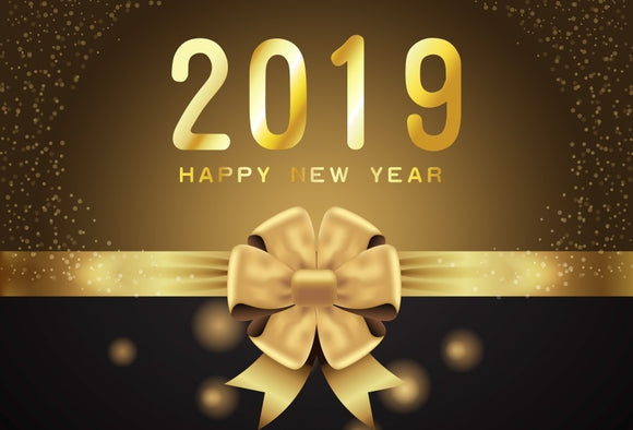 Laeacco Happy New Year 2019 Backgrounds Golden Party Celebration Poster Pattern Photography Backdrops Photocall Photo Studio