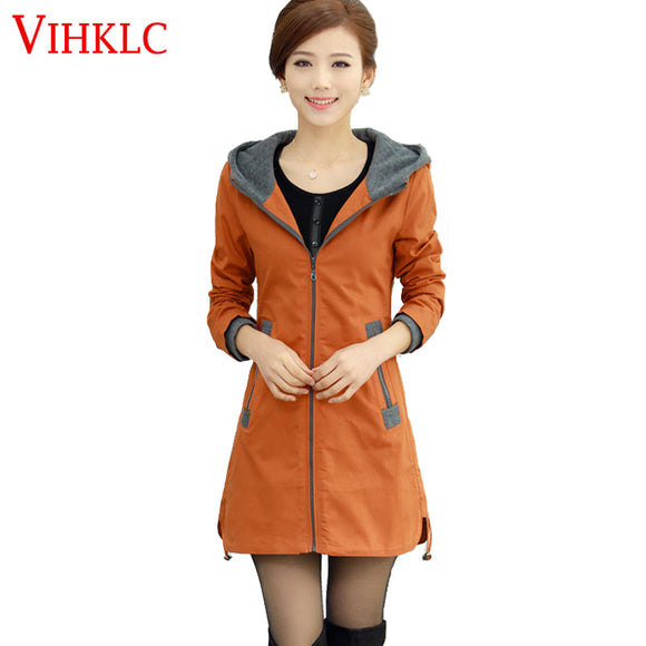 VIHKLC plus size winter autumn women trench coat 2017 Leisure Loose warm cotton windbreaker female outerwear  M-4XL AY133