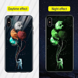 TOMKAS Luminous Animal Glass Case For iPhone X XS MAX XS Luxury Silicone Phone Case For iPhone 7 8 Plus Cases For iPhone 6 S 6S