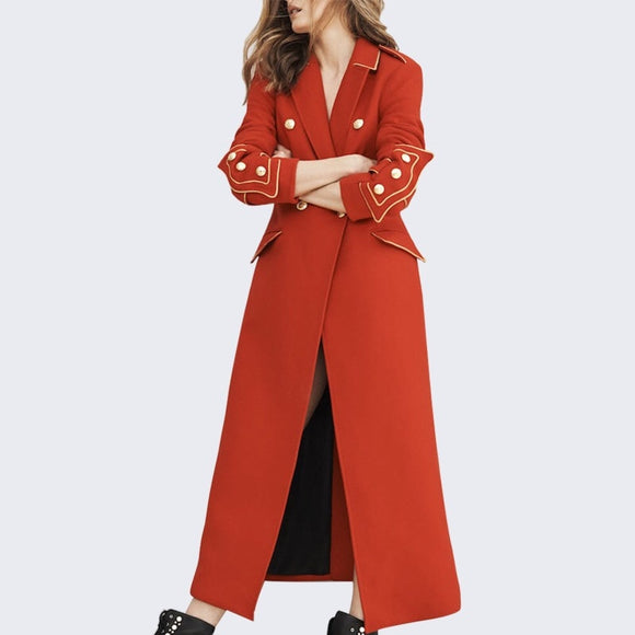 2017 Autumn Winter Red Wool Button Turn-Down Collar Office Lady Ankle Length Coat S-XL Haute Couture High End