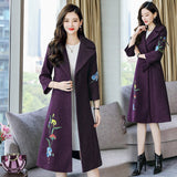 Long and Medium Style Autumn and Winter New Embroidered Woolen Coat Woman Slim Solid Casual Female Coat Single Breasted Outerwea