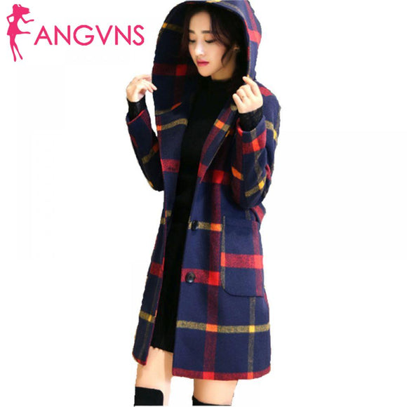 ANGVNS  and Slim fashion new winter plaid temperament double-sided women's autumn The wool Hooded woolen coat long
