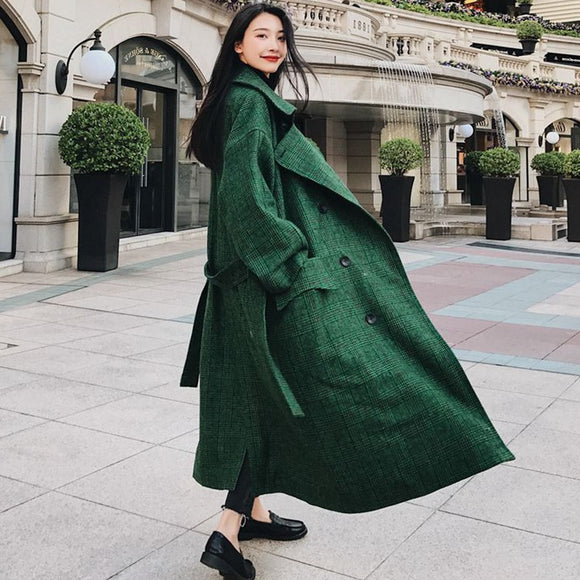 SuperAen 2018 Women Coats Autumn Winter Wool Coat High Street Long Plaid Coats Female Plus Size Overcoat Green Women Coats