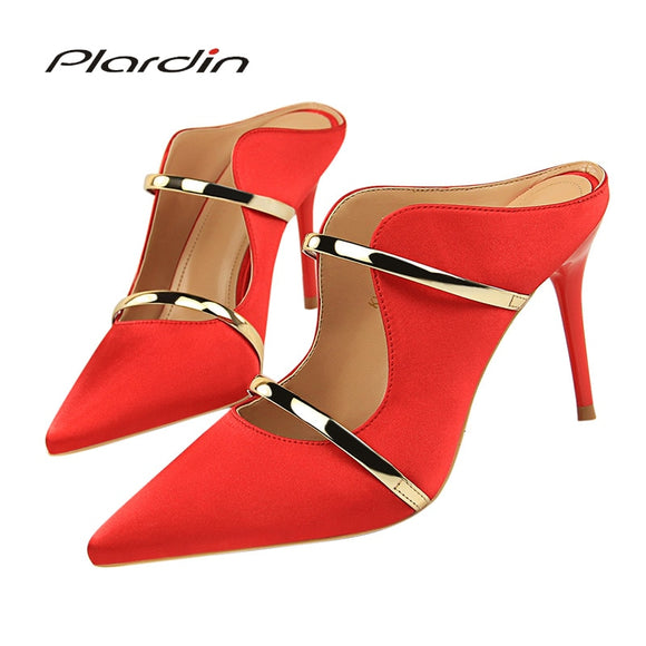Plardin New Silk Thin High Heel Pumps Spring Summer Women High Heels Shallow Butterfly-knot Woman SexyParty Wedding Ladies Shoes