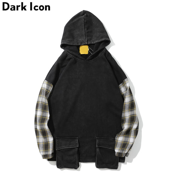 Dark Icon Plaid Patchwork Front Pockets Mens Hoodie 2018 New Loose Style Hip Hop Hoodies Washing Material Hooded Men