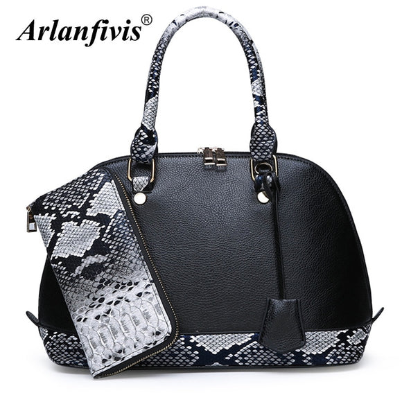 New 2019 Fashion Serpentine Women Bag Shoulder Leather Handbags Tote Combination bag Purse Elegent Shell luxury Designer Bolsa
