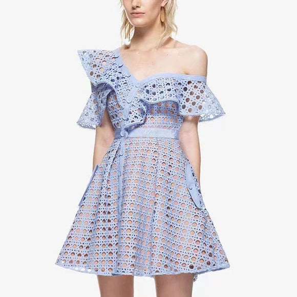 2019 Women Hollow Out One Shoulder Ruffles Lace Dress Luxury Runway Self Portrait Dress 4 color Pink Black White Blue