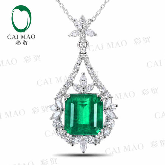 CaiMao Natural 7.72 ct Emerald 18KT/750 White Gold 1.73 ct Full Cut Diamond Jewelry Pendant Gemstone