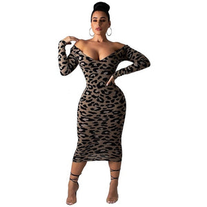 ZYSK Winter Women Leopard Print Dress Animal Print Dresses Women Slash Neck Long Sleeve Off Shoulder Backless Sheath Party Dress