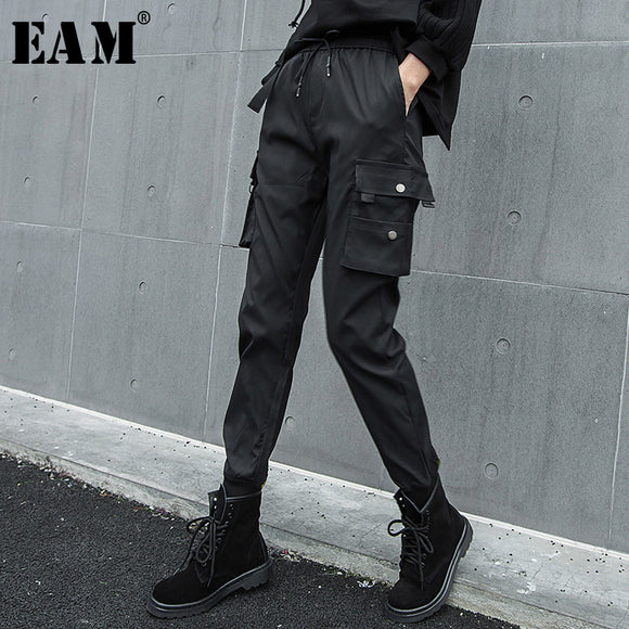 [EAM] 2019Spring Winter Woman Personality Stylish Solid Black Color Long Drawstring Pleated Pockets High Waist Harem Pants LE785