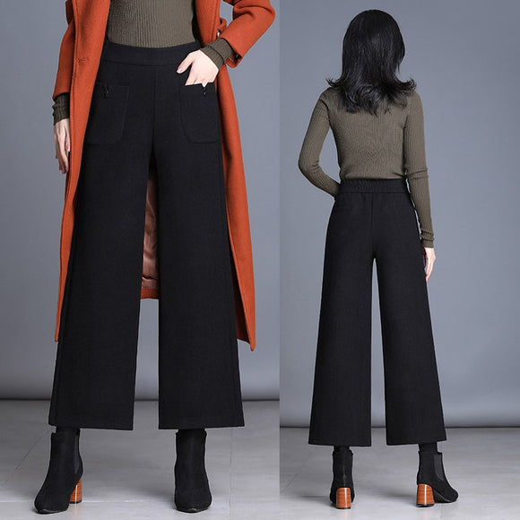 Cashmere Wide Leg Pants Women Casual Winter Thick Trousers Ladies Ankle-leather Pants Streetwear Female Elastic Waist Pant Black