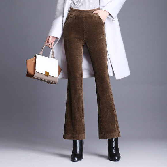 Flare Pants Women Corduroy Elastic Waist Pants Female High Waist Office Straight Pant Casual Black Brown Winter Long Trousers