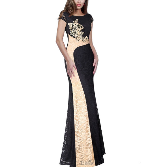 Vfemage Womens Floral Lace Applique Colorblock Patchwork Lace Formal Evening Gowns Mother of Bride Bodycon Maxi Long Dress 1165