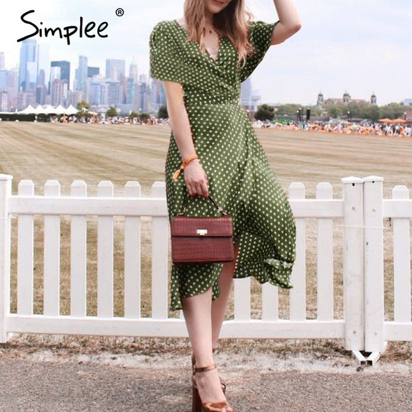 Simplee Vintage dots print chiffon women summer dress 2018 Elegant v neck wrap sashes dresses Sexy female party long dress