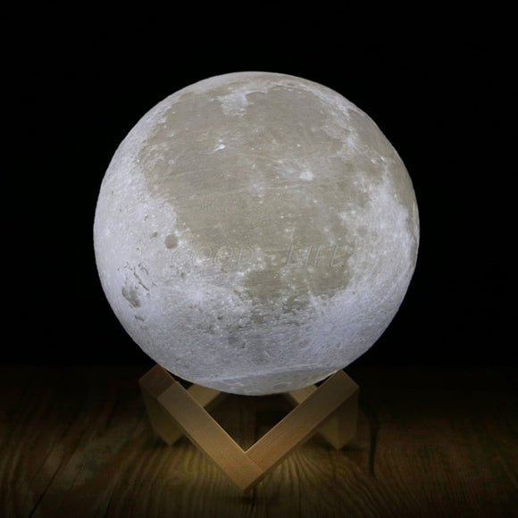Rechargeable 3D Print Moon Lamp 2 Color Change Touch Switch Bedroom Bookcase Night Light Home Decor Creative Gift Free shipping