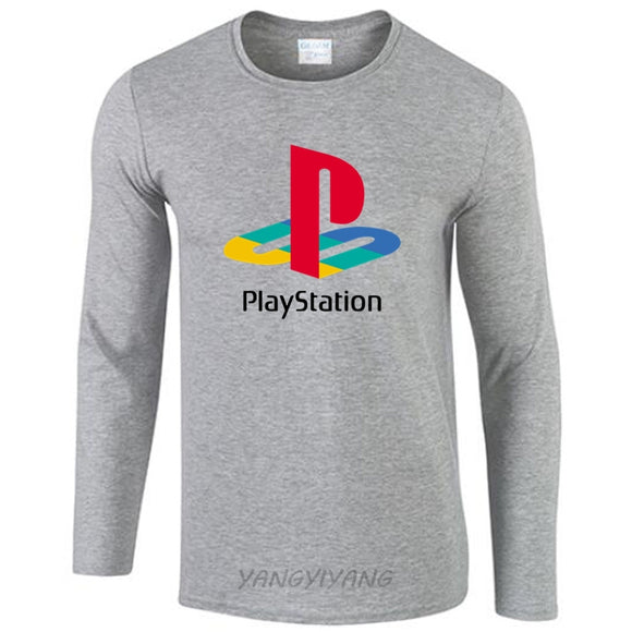 new arrived men fashion t shirt Playstation Logo pattern 100% cotton brand o-neck casual long sleeves tshirt