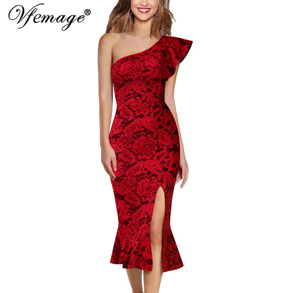 Vfemage Women Sexy Ruffle One Shoulder High Slit Fitted Cocktail Party Club Slim Bodycon Pencil Fishtail Mermaid Midi Dress 1110