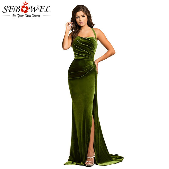 SEBOWEL Sexy Green High Split Velvet Evening Gown Women Elegant Long Maxi Party Dress Lady Floor Length Halter Dress for Wedding
