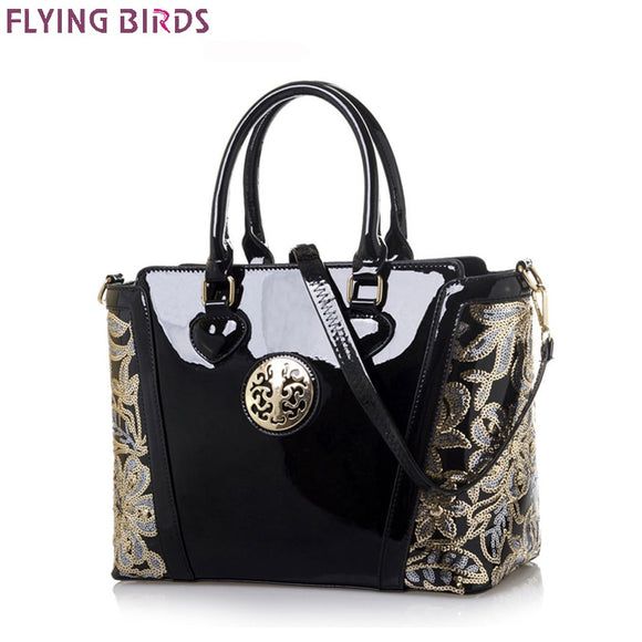 FLYING BIRDS! Women Handbag Embroidery Flower Shoulder Bag Patent Leather High Quality Totes Luxury Handbags Women Bags Designer